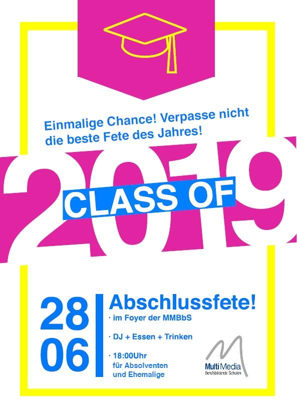 Plakat Abschlussfete 19